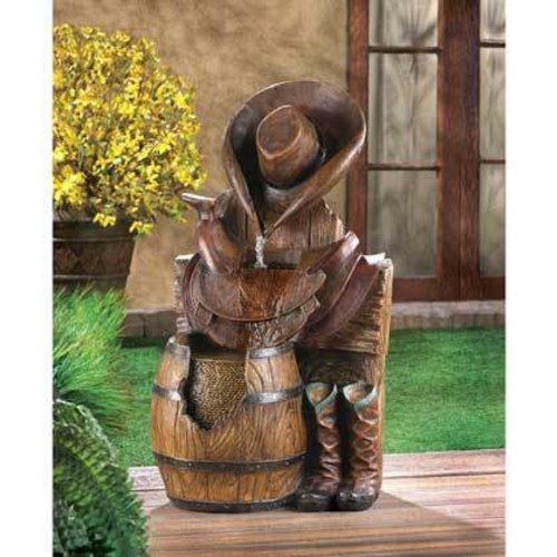 western country cowboy boot horse saddle Statue birdbath Outdoor Garden Fountain