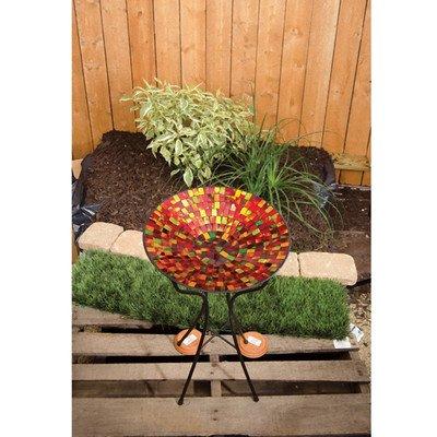 Carson 13 Red Hues Mosaic Art Glass Bird Bath