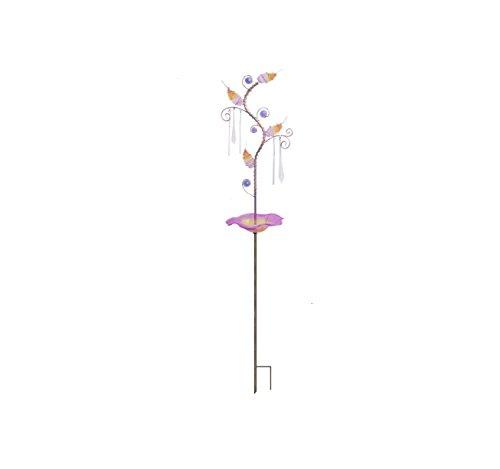 Continental Art Center 95X8X43 glass bird bathfeeder stake with beaded ornaments-purple