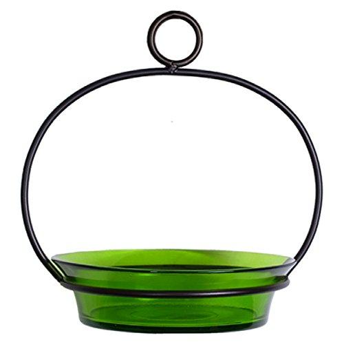 Wild Bird Bath Songbird Water Bowl G447FR Lime Green Colored Glass Birdbath Hanging Bird Seed Dish