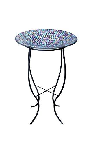Alpine Grs470a-18 Purpleblueyellow Mosaic Glass Birdbath With Metal Stand 18&quot