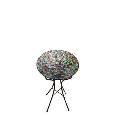 Carson 13&quot Blue Deco Mosaic Art Glass Bird Bath