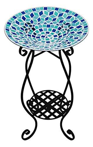 Carson 13&quot Blue Glass Mosaic Bird Bath With 24&quot Plant Stand Bundle