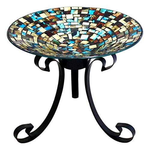 Carson 13&quot Multicolor Glass Mosaic Bird Bath With 10&quot Stand Bundle