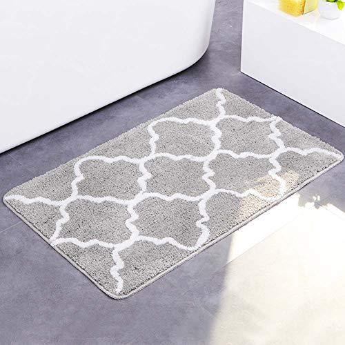 HOUTBY Large Bath Mats Soft Absorbent Floor Rug Carpet Outdoor Entrance Doormats Non Slip LargeGray