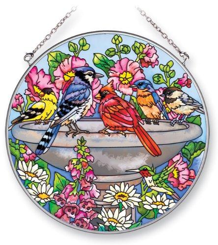 Amia Suncatcher Featuring Birds In A Birdbath Hand Painted Glass 6-12-inch Circle