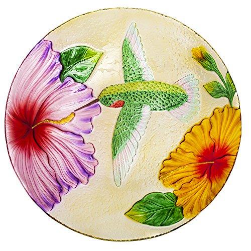 Evergreen Flag Garden 2GB619 Fluttering Hummingbird Glass Birdbath Bowl 18