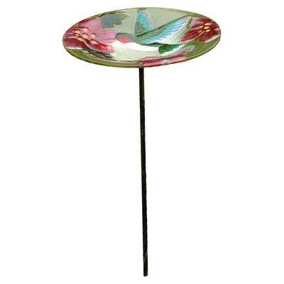 Evergreen Garden Hummingbird Glass Birdbath with Stake