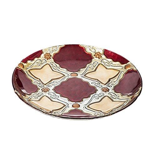 Evergreen Garden Red Gold Holiday Diamonds Glass Birdbath Metal Stand