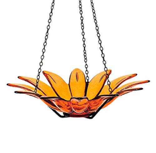 Hanging Glass Birdbath Wild Bird Feeder 12 in G174F Orange Colored Bird Bowl Decorative Birdseed Dish
