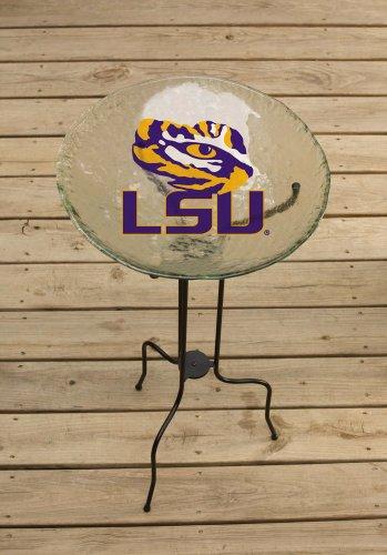 LSU Tigers Logo Glass Birdbath