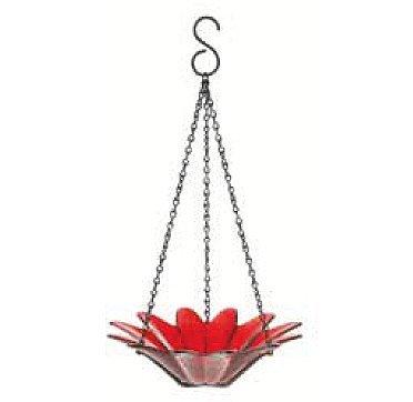 Wild Songbird Feeder Hanging Birdseed Bowl 8 in G289M Red Colored Glass Birdbath Colorful Garden Birdseed Dish