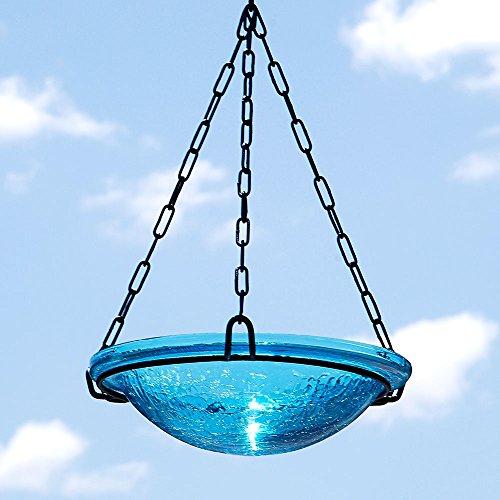 Achla Designs BBH-02T 12 Crackle Teal 12 inch Glass Hanging birdbath Turquoise