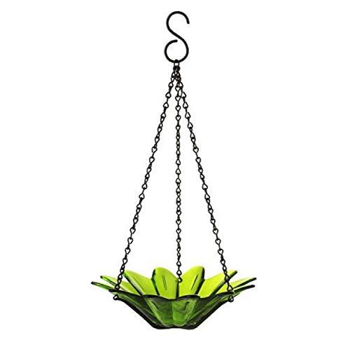 Romantic Decor and More Decorative Bird Bowl Colored Birdseed Dish 8 in G288VF Lime Green Colorful Hanging Glass Birdbath Wild Bird Feeder