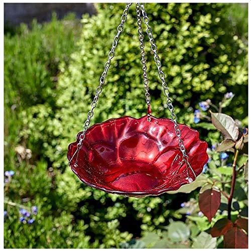 Smart Garden Hand Painted Finish Hanging Glass Poppy Rose FeederBirdbath