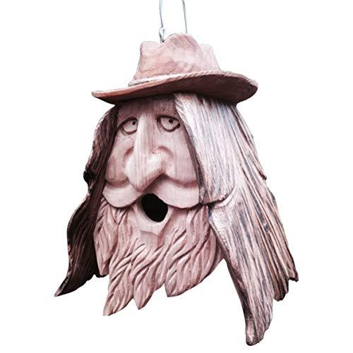 Galapagoz Wood Cedar Birdhouse Spirit Unique Old Man Rustic Happy Cowboy Hand Carved Handcraft Handmade
