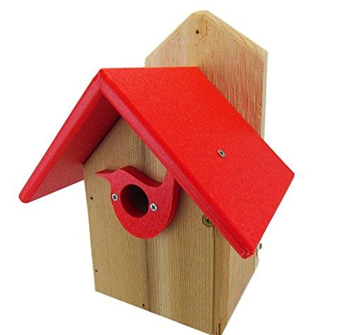 Natures Way Bird Products JCs Wildlife Post Mount Cedar Wren House w Poly Roof Birdhouse Predator Guard Portal Red