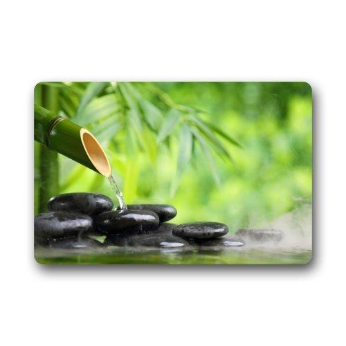 Non Slip Bamboo Fountain And Zen Stone IndoorOutdoor Floor Mat 236L x 157W