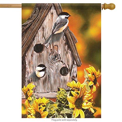Autumn Chickadees Birdhouse House Flag Autumn Floral 28 x 40 Carson