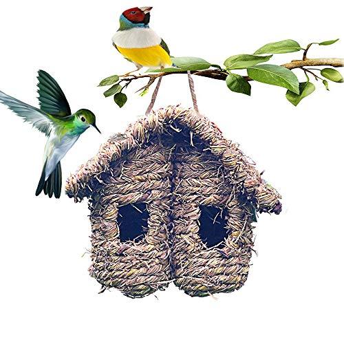 Bird House for Outside Hummingbird House Hanging Finch Nest Chickadee Birdhouse Wren Nest Fiber Hand-Woven Bird House Roosting Pocket Bird Hideaway Sparrow House for Finch Canary