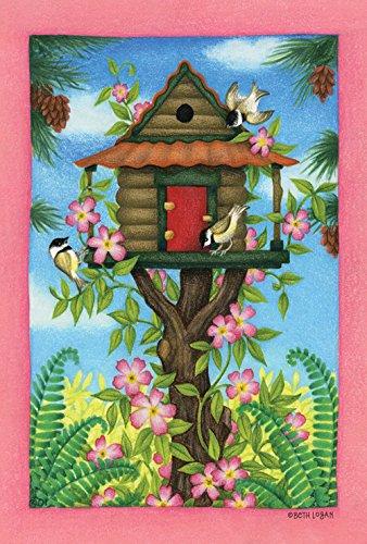 Toland Home Garden  Chickadee Birdhouse 28 x 40-Inch Decorative USA-Produced House Flag