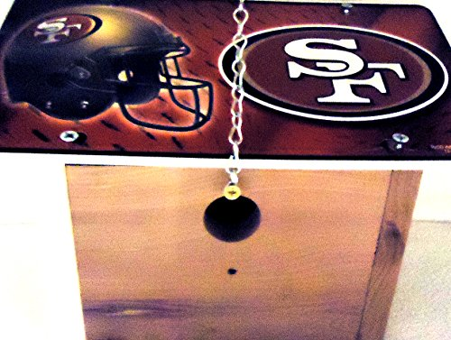 1  Chickadee Bird House with a  SAN FRANCISCO FORTY-NINERS Metal Sign Roof 125in OpeningWithChain11B29B501901