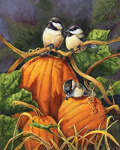 Chickadees And Pumpkins Autumn House Flag Birds Fall Thanksgiving 28&quot X 40&quot