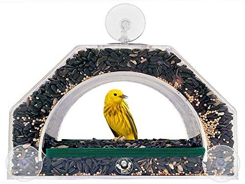 Grateful Gnome - Bridge - Window Bird Feeder - Clear Acrylic House For Small Birds Like Finch And Chickadee -