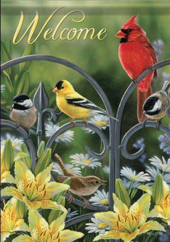 Spring Summer Songbird Welcome Cardinal Chickadee Double Sided Decorative Garden Porch House Flag 28 X 40