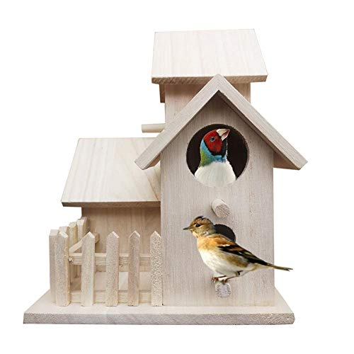 Birdhouse Hanging Villa Bird House Wooden Bird Nest with 3 House Construction  Fence Unfinished Natural Wood Decorative Birdhouse Decorative Birdhouse Home Decoration 807610610in