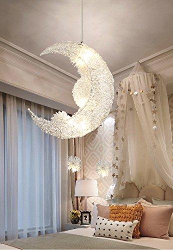 Creative Moon and Stars Fairy LED Pendant Lamp Chandelier Ceiling Light Kids Children Bedroom Decoration White Light