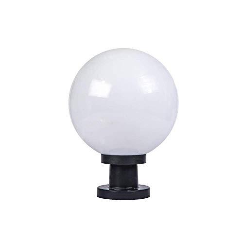 Hurffue IP55 Acrylic Ball Post Lantern Rainproof Globe Landscape Column Light Courtyard Patio Porch Gate Lawn Lighting Fixture Street Light Creative Waterproof Outdoor Pillar Lamp E27 Edison