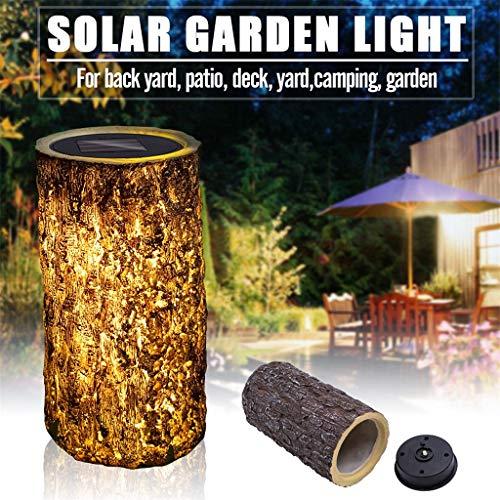 Miklan Solar Stump Light Creative Landscape Lighting Garden Column Light - Surreal Real Vertical Log Planter Large Oak