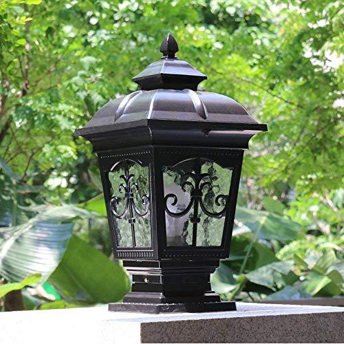 QT Modeen Continental Victoria Outdoor Glass Table Lamp Creative Modern Industry E27 Decoration Column Lamp Post Light Street Light Aluminum Patio Garden Villa Door Pillar Table LightBlack