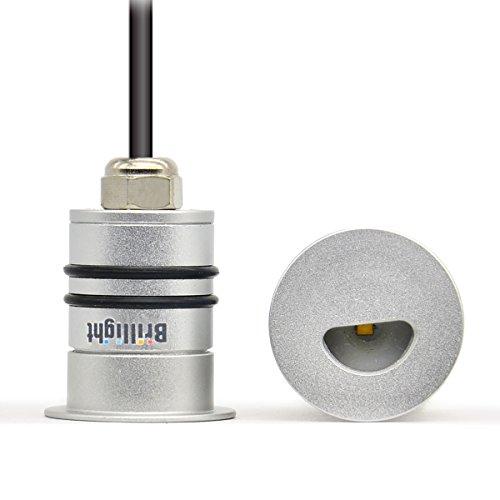 Brillight 4-Pack 12V Mini Cree LED Deck Light Half-Round-Spot Side View Stairway Step Spotlight Bulb Waterproof IP68  Cool White 6000K