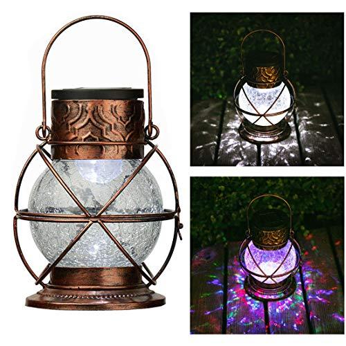 Go2garden Solar Lantern Outdoor Hanging Garden Lights Decorative Rainbow Lamp Metal&Glass for Patio Tabletop Decorations Bronze3 Lumens