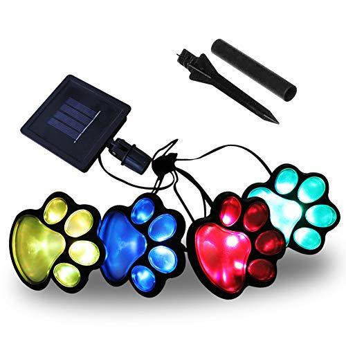 Obrecis LED Solar Paw Print Outdoor Decor Solar Light Dog Puppy Bear Animal Cat Paw Path Light Garden Lamp for Landscape Walkway Yard Set of 4Colorful
