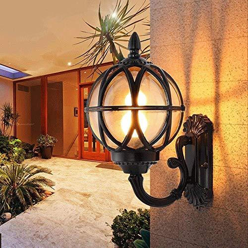 Wall Light Bracket Light Aluminum Traditional Black Spherical Glass Lantern Wall Sconce Light European Garden Globe Shade Wall Lamp Patio Lighting Fixture Villa Courtyard Park Wall Spotlights Lighti