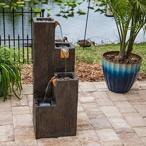 IndoorOutdoor Floor Fountain - Wood Grain Finish Brown Resin Handmade Pump Included