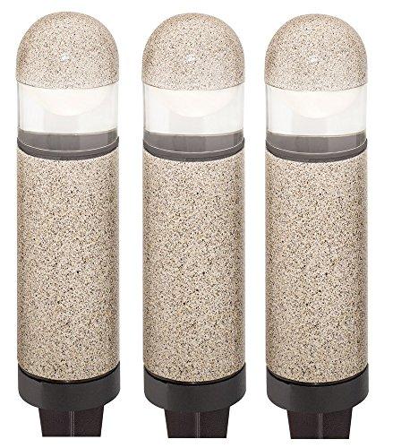 3 Pack Malibu 8303-9300-03 Cast Metal 20 Watt Mini Bollard Lights Pathway Yard in Sand BY MALIBU DISTRIBUTION