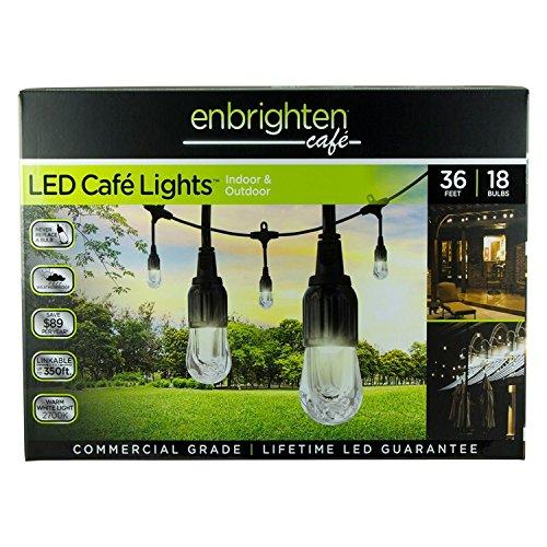 Enbrighten Caf&eacute Led String Lights 36 Ft 18 Lifetime Bulbs Premium Weatherproof Shatterproof Commercial