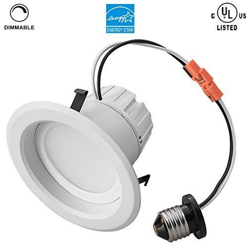 9Watt 4Inch 5000K UL-listed Dimmable Retrofit Led Recessed Lighting Fixture 820LM Replace 80W Halogen Bulb Daylight Led Downlight Size 1PCS 4inch-9Watt-5000K Model