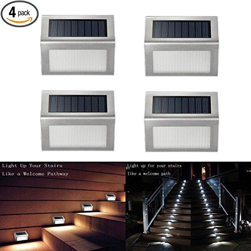 upgradedithird Solar Step Light 3 Led Solar Powered Stair Lights Outdoor Lighting For Steps Paths Patio Decks