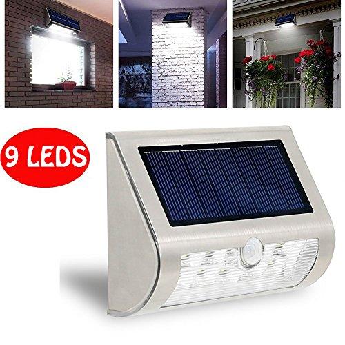 Led Solar Step Lights Ksleder&reg 9 Led Outdoor Waterproof Wireless Wall Security Lights Led Stair Lights Solar