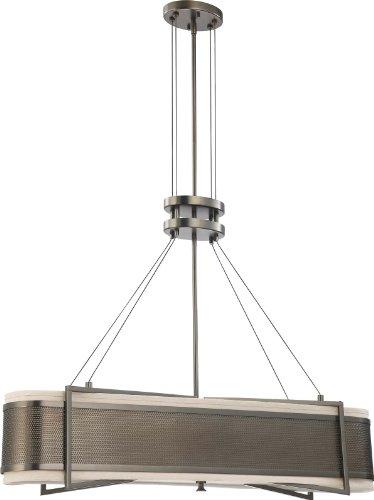 Nuvo Lighting 604035 Four Light Diesel Island Pendant With Khaki Fabric Shadecream Diffuser Hazel Bronze