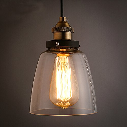 Winsoon 55 X 95 Inch Design Vintage Industrial Ceiling Lamp Clear Glass Pendant Lighting For Kitchen Island