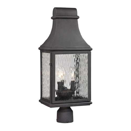 Elk Lighting 470753 Forged Jefferson Collection 3 Light Outdoor Post Light Charcoal