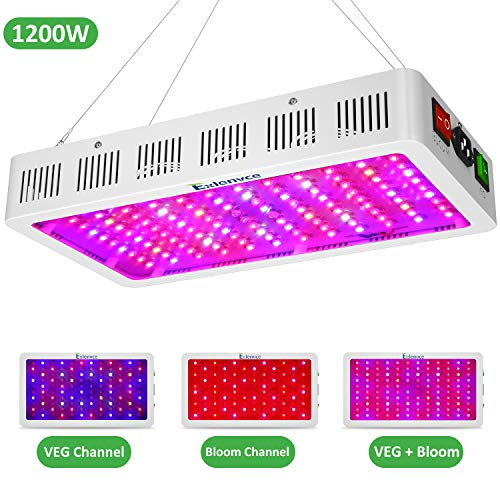 Exlenvce 1500W 1200W LED Grow Light Full Spectrum for Indoor Plants Veg and Flowerled Plant Growing Light Fixtures with Daisy Chain Function Triple-Chips 15W LED