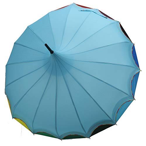 QUEENSHOW Creative Rainbow Pagoda Umbrella Retro Small Fresh Wave point Sun Umbrella Stick Umbrella UV Protection Umbrella Retro with Hook Handle for Sun Rain Protection Light blue