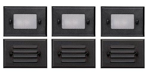 3 Pack of Malibu 8301-2402-03 Half Brick Deck Step Light w 2 Lenses ea 7 Watt Black BY MALIBU DISTRIBUTION